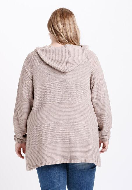 Women's Hooded Cardigan, NATURAL, hi-res