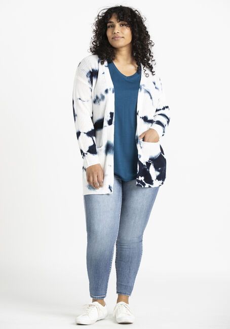 Women's Tie Dye Cardigan, NAVY, hi-res