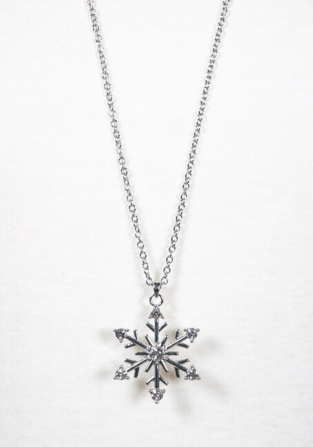 Women's Snowflake Necklace, SILVER, hi-res