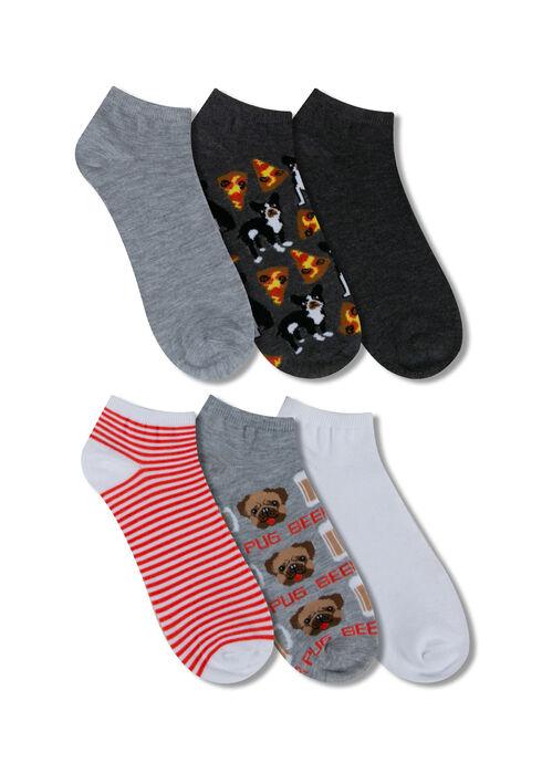 Men's 6 Pair Dog Socks, GREY, hi-res