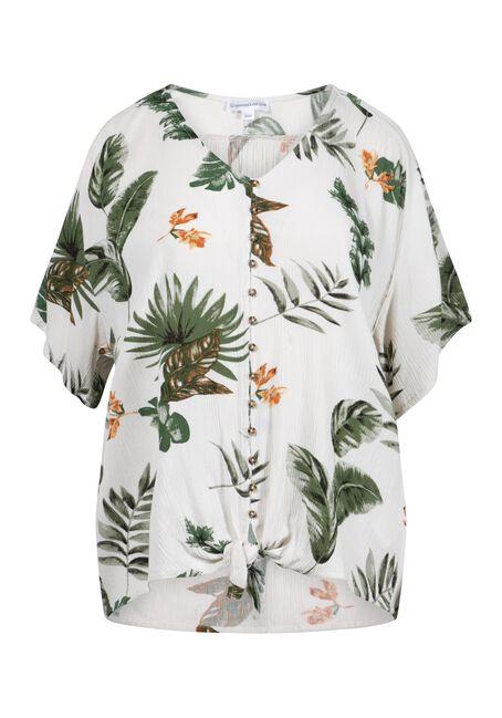 Women's Palm Print Button Front Tie Hem Top, IVORY, hi-res