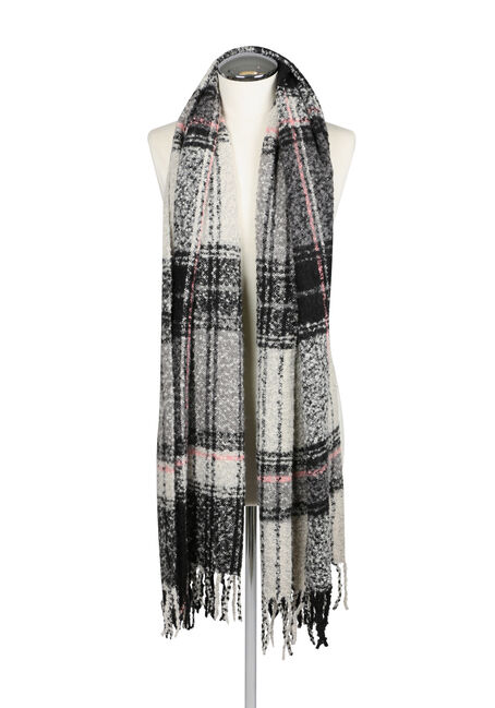 Ladies' Textured Blanket Scarf, BLACK, hi-res