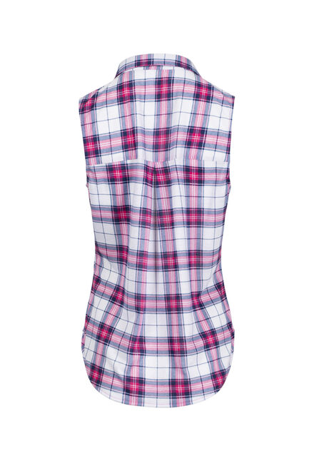 Women's Sleeveless Knit Plaid Shirt, FLAMINGO, hi-res