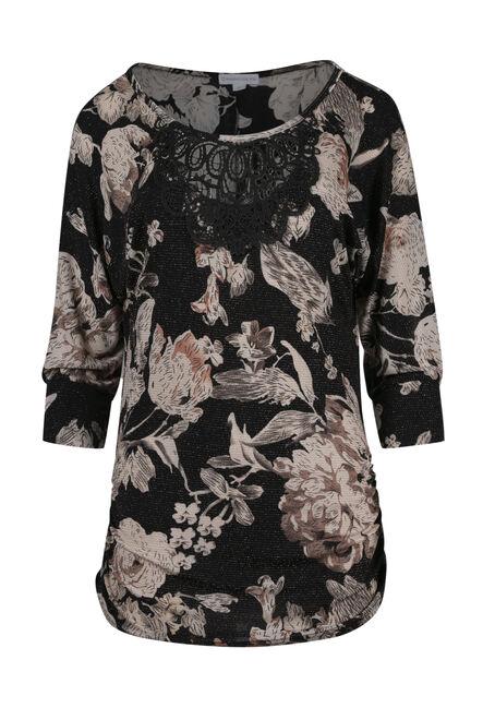 Women's Floral Shimmer Dolman Top