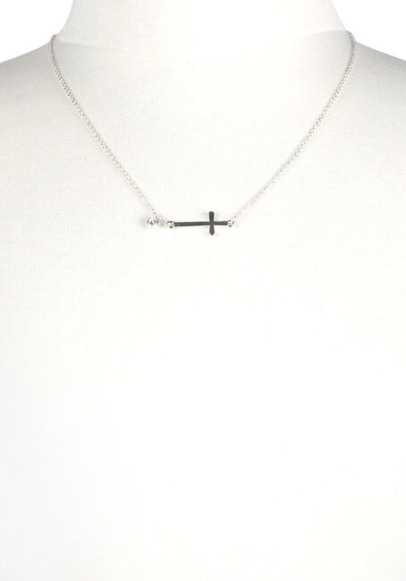 Women's Rhinestone Cross Necklace, SILVER, hi-res