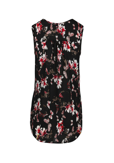 Women's Floral Pleat Front Tank, BLACK, hi-res