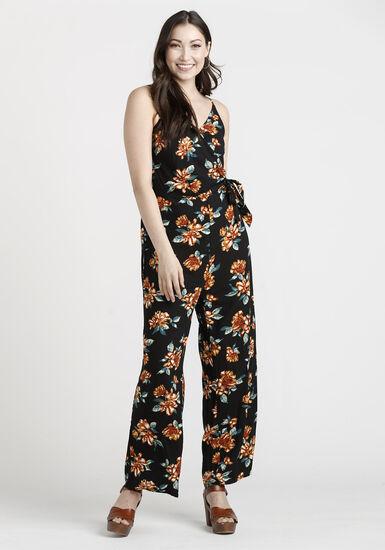 Women's Floral Jumpsuit, BLACK, hi-res