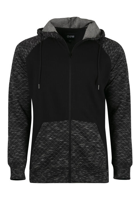Men's Quilted Raglan Zip Front Hoodie, BLACK, hi-res
