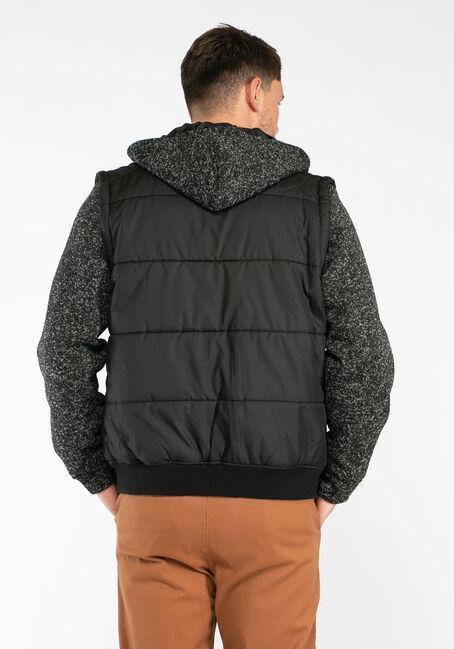 Men's Knit Sleeve Puffer Jacket, BLACK, hi-res