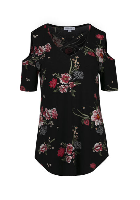 Women's Floral Cold Shoulder Top