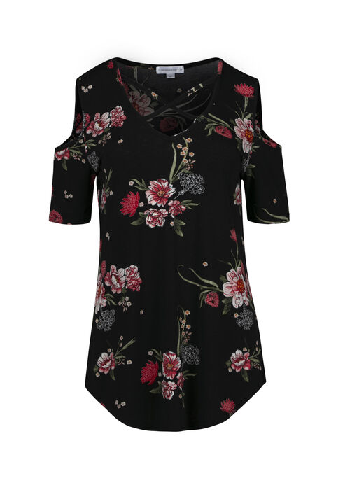 Women's Floral Cold Shoulder Top, BLACK, hi-res