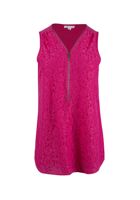 Ladies' Lace Half Zip Tank
