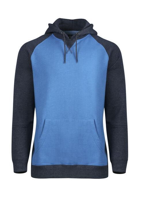 Men's Colour Block Hoodie, BLUE, hi-res