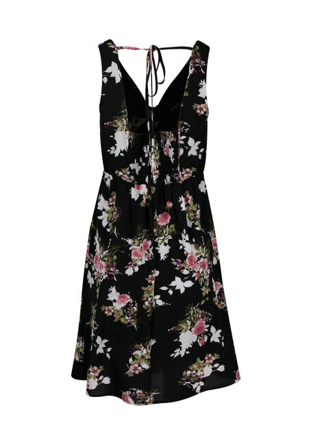 Women's Floral Tie Front Dress, BLACK, hi-res