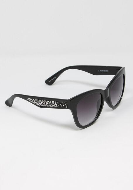 Women's Crytal Arm Wayfarer Sunglasses, BLACK, hi-res
