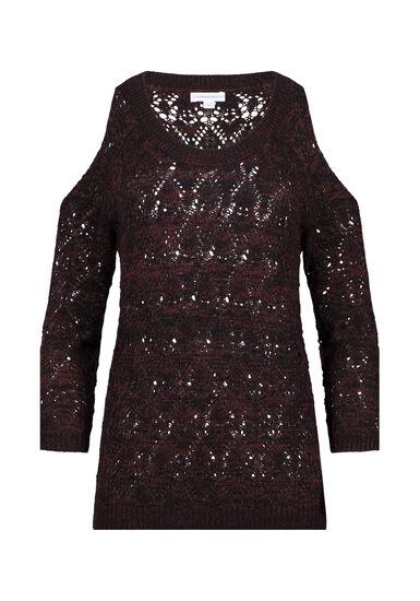 Women's Cold Shoulder Pointelle Sweater, BLK/BURGUNDY, hi-res