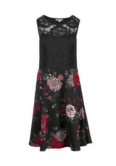 Women's Dark Florals Skater Dress, BLACK, hi-res