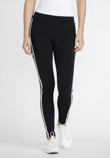 Women's Side Stripe Legging, BLACK, hi-res