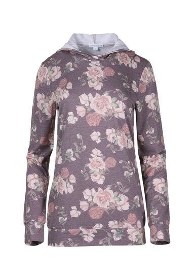 Women's Floral Hooded Tee, CARDINAL, hi-res