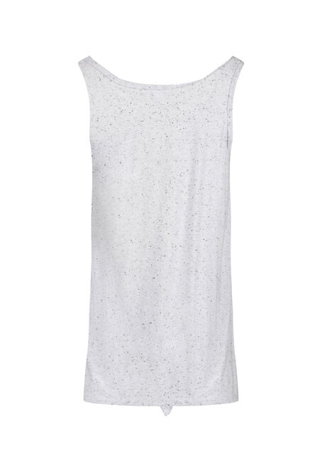 Women's Speckled Tie Front Tank, WHITE, hi-res