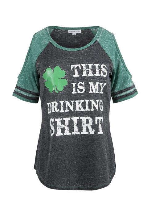 Ladies' Irish Cold Shoulder Tee, BLACK/KELLY GREEN, hi-res