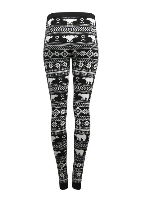 Ladies' Polar Bear Legging, BLK/WHT, hi-res
