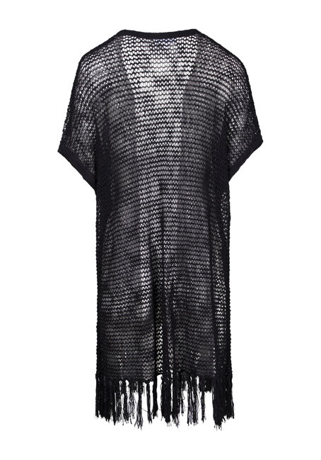 Women's Fringe Pointelle Cardigan, BLACK, hi-res