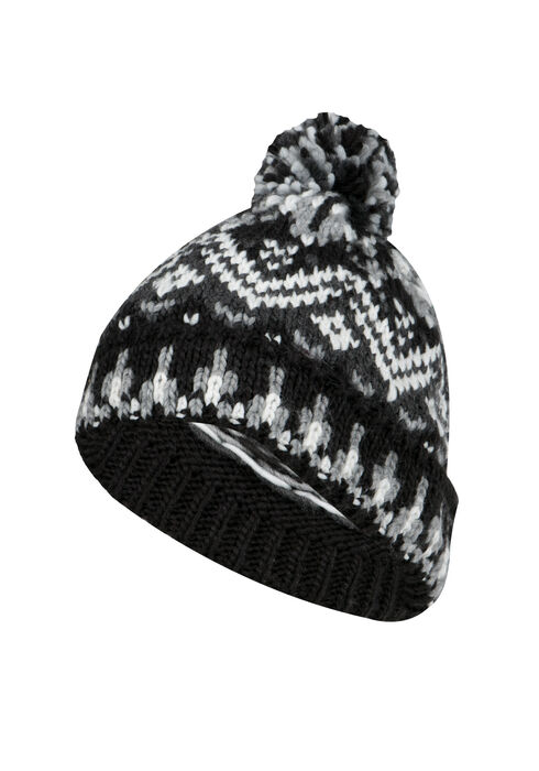 Ladies' Nordic Pom Pom Hat, BLACK, hi-res