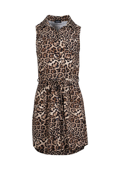 Women's Leopard Print Shirt Dress, BROWN, hi-res