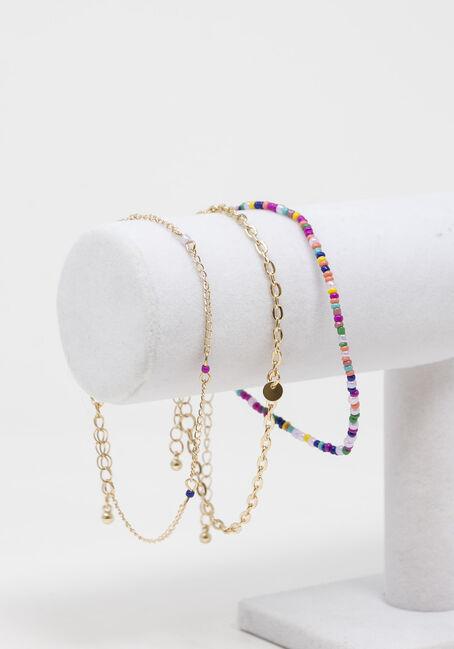 Multi Coloured Beads Anklet Set