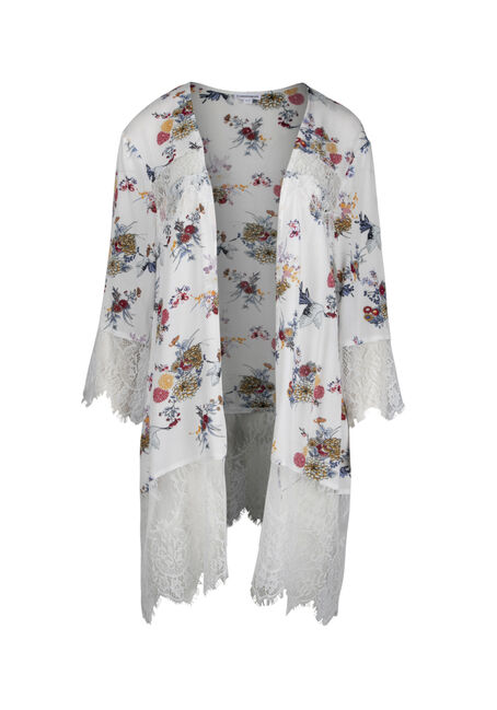 Women's Lace Insert Floral Kimono