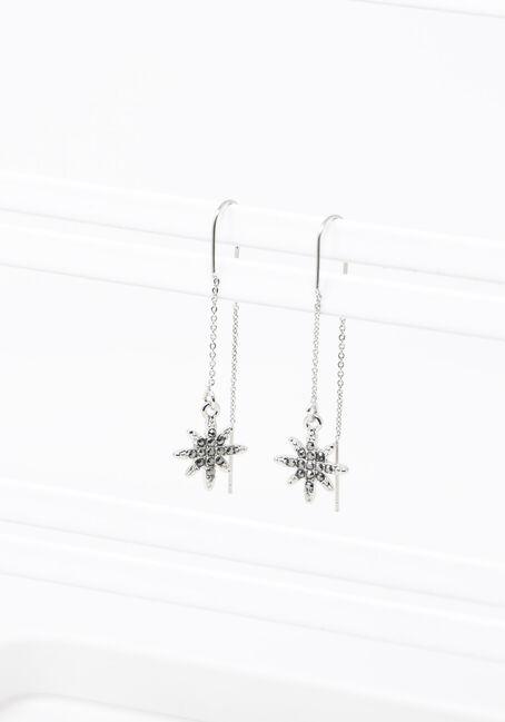 Celestial Fishhook Earrings, SILVER, hi-res