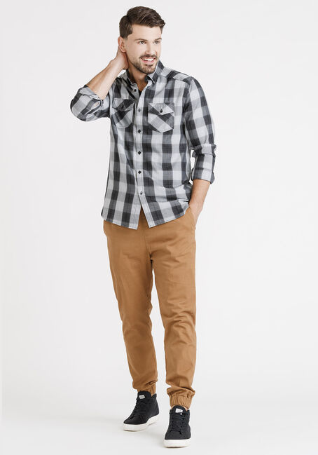 Men's Washed Plaid Shirt, BLACK, hi-res