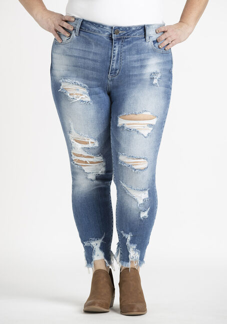 Women's Plus Heavy Destroyed Ankle Cutout Skinny Jeans