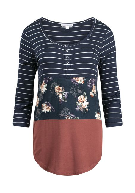 Women's Floral Colour Block Henley, BURNT ORANGE, hi-res
