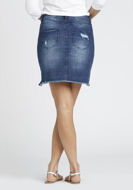 Ladies' Destroyed Step Hem Skirt, DENIM, hi-res