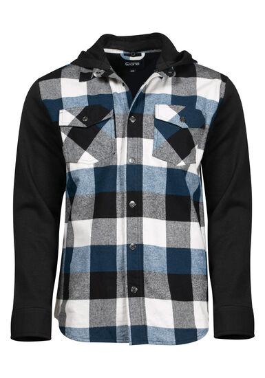 Men's Knit Sleeve Shirt Jacket, BLUE, hi-res