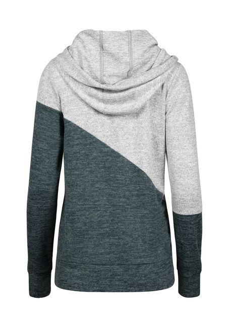 Women's Super Soft Colour Block Hoodie, FOREST/GREY, hi-res