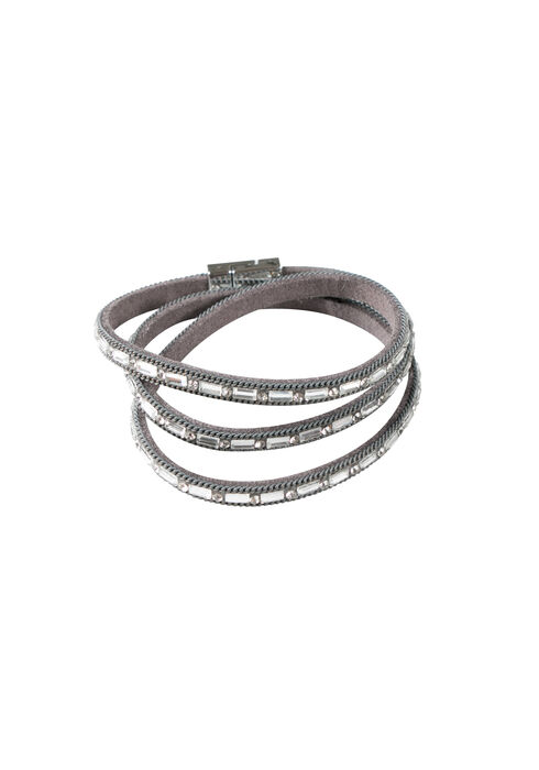 Ladies' Rhinestone Wrap Bracelet, GREY, hi-res