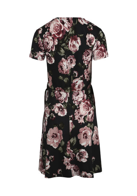 Women's Floral Wrap Dress, BLACK FLORAL, hi-res