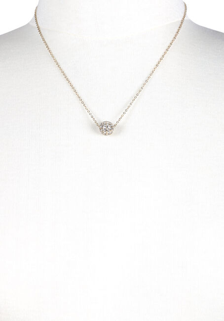 Ladies' Fireball Necklace, GOLD, hi-res