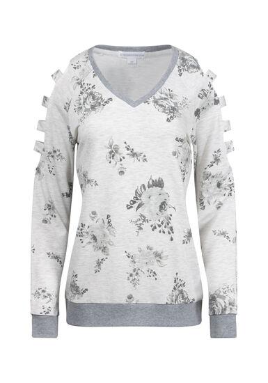 Women's Floral Ladder Sleeve Fleece, HEATHER GREY, hi-res