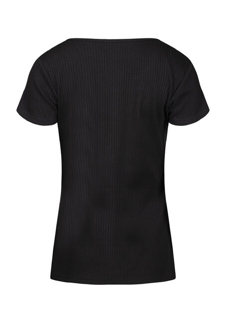 Women's Ribbed Notch Neck Tee, BLACK, hi-res