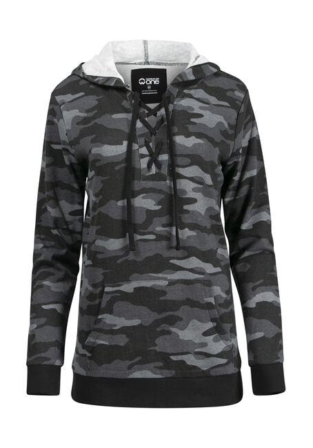 Women's Camo Lace Up Hoodie