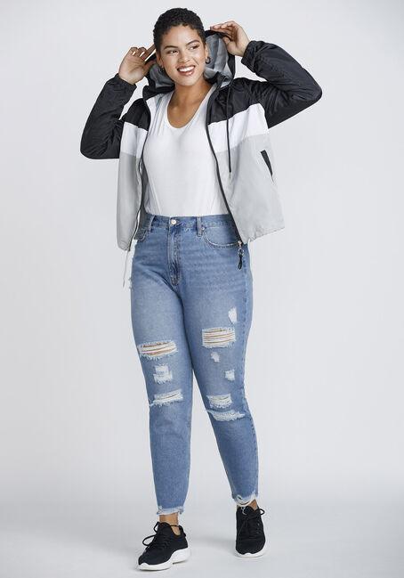 Women's Windbreaker Jacket, BLK/WHT, hi-res