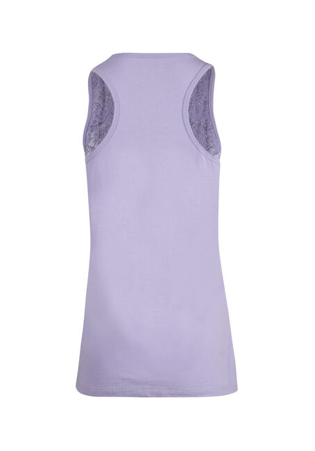 Ladies' Lace Overlay Tank, LAVENDER, hi-res