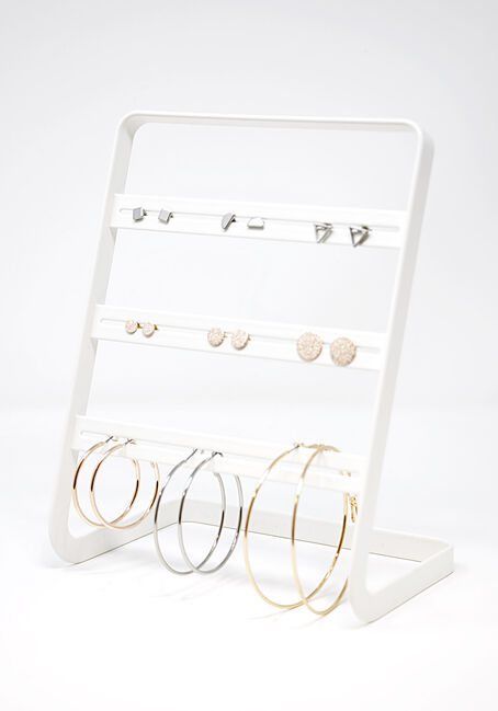 Women's 9 Pair Hoops & Studs Earring Set