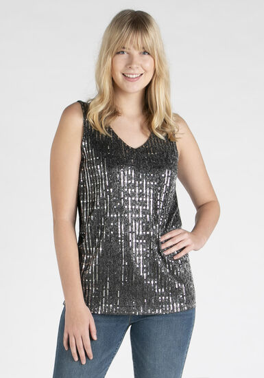 Women's Silver Shimmer Tank, SILVER, hi-res