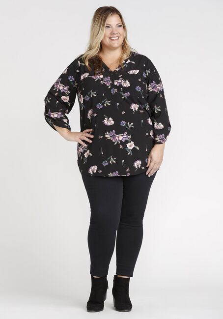 Women's Floral Print Blouse, BLACK, hi-res