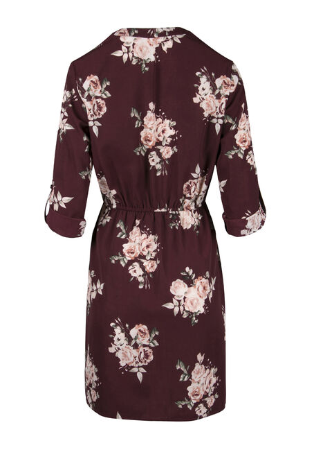 Ladies' Floral Shirt Dress, BURGUNDY/PINK, hi-res